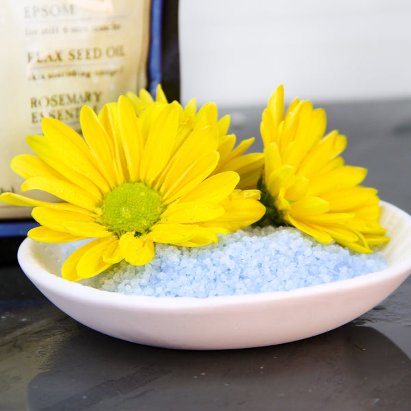 Chronic Pain & Fatigue Body Soak in Bowl with Flowers