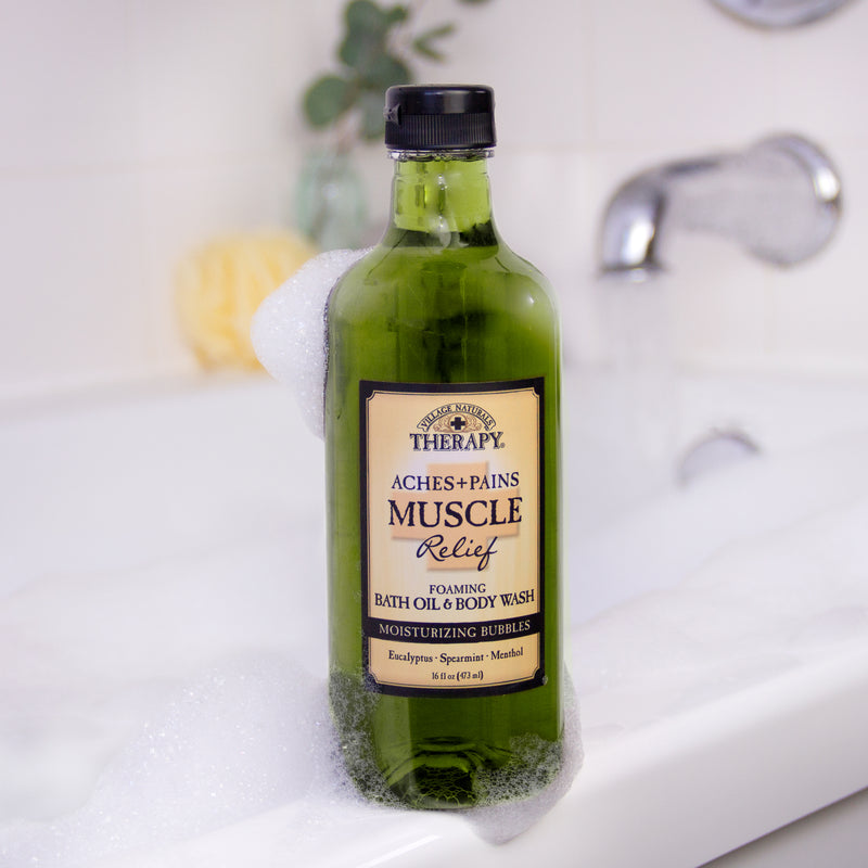 Muscle Relief Foaming Bath Oil & Body Wash On Tub