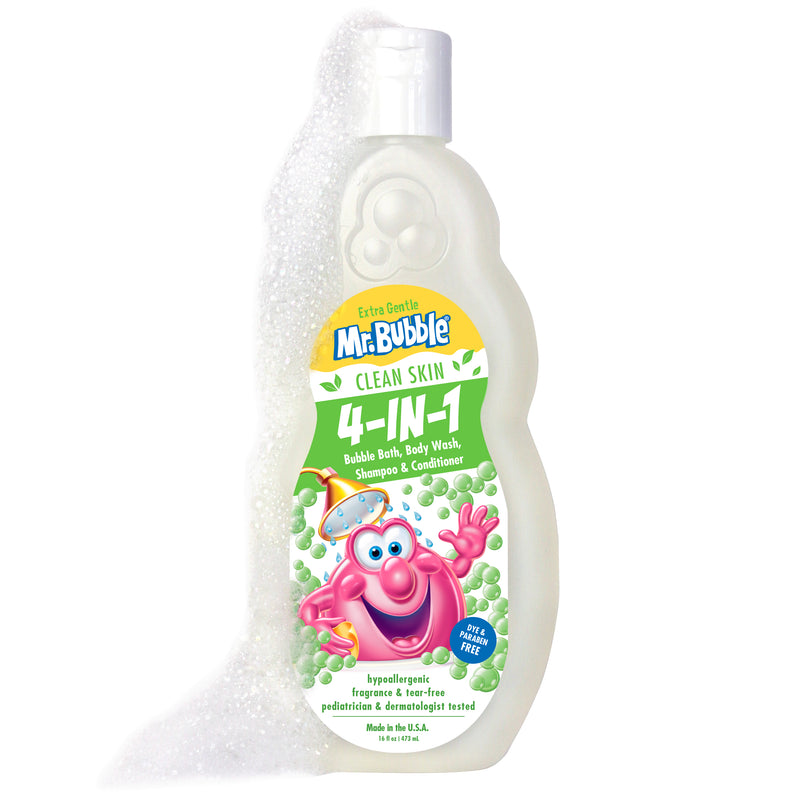New! Mr. Bubble Extra Gentle Clean Skin 4in1 Bubble Bath, Body Wash, Shampoo & Conditioner 16 oz