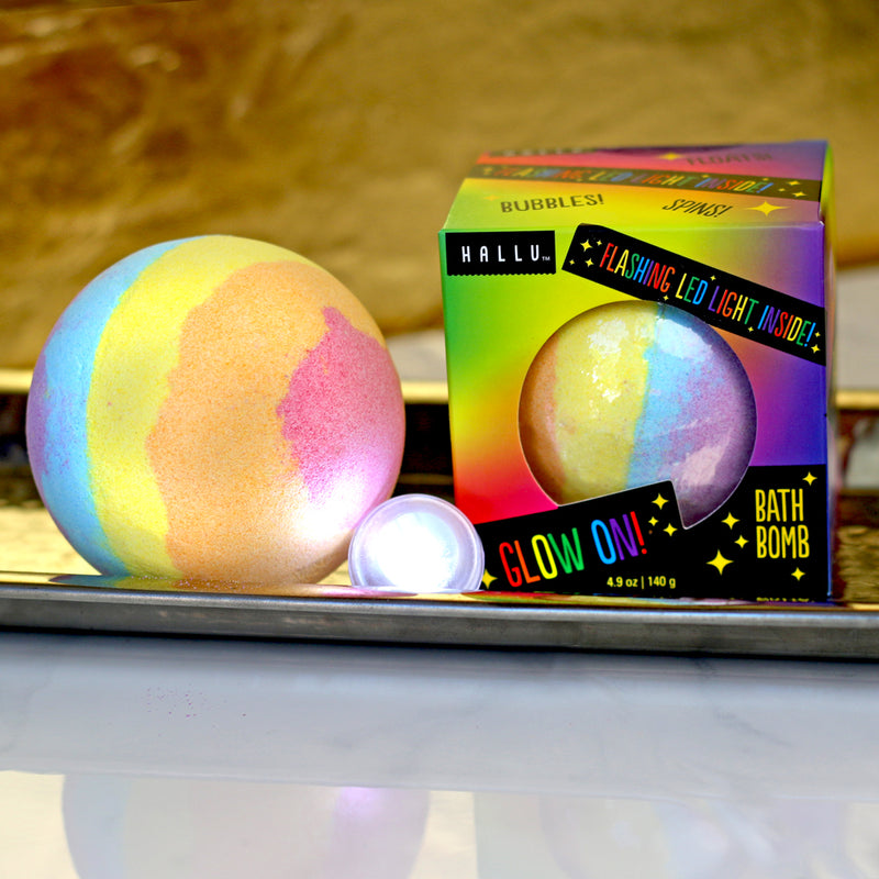 hallu glow on rainbow bath bomb