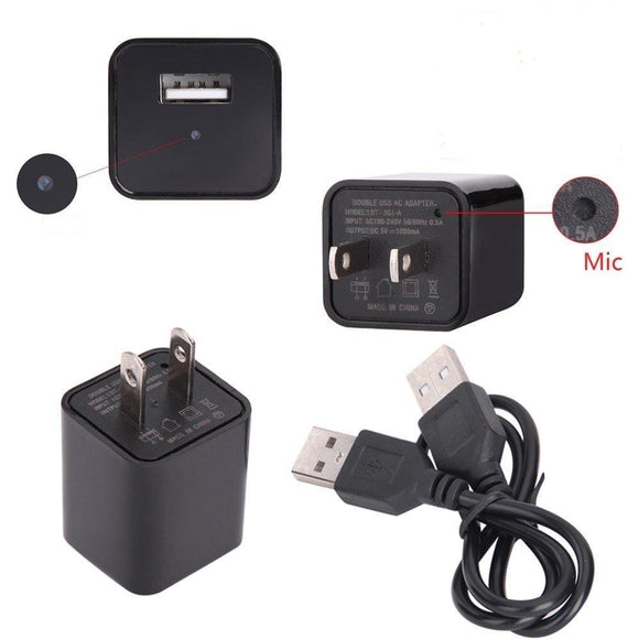 USB Charger Spycam with Memory Card Support