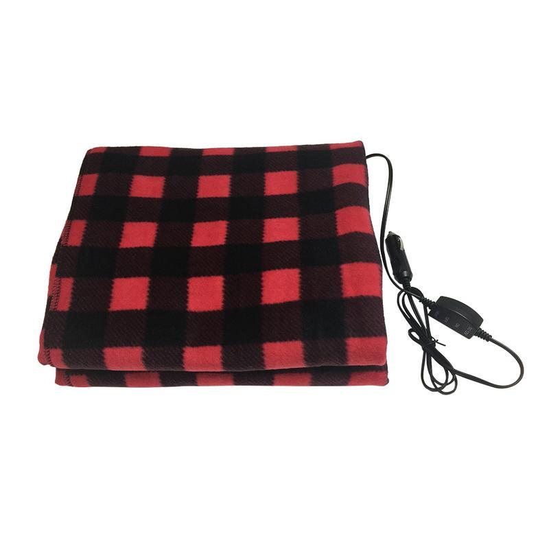 12v Heated Travel Checkered Electric Blanket For Car