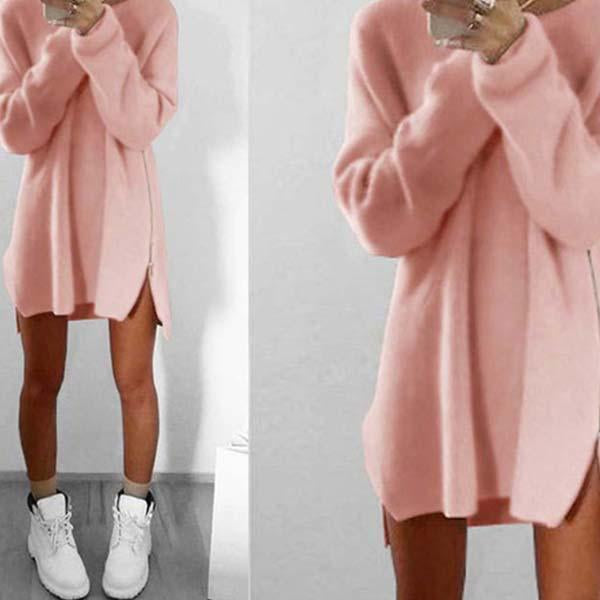 2019 Women Plus Size Warm Zipper Knitted Long Sweater Dress Pullover