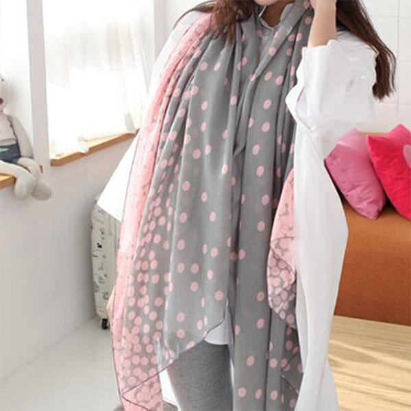 2019 New Fashion Women Soft Long Voile Neck Butterfly Dots Scarf