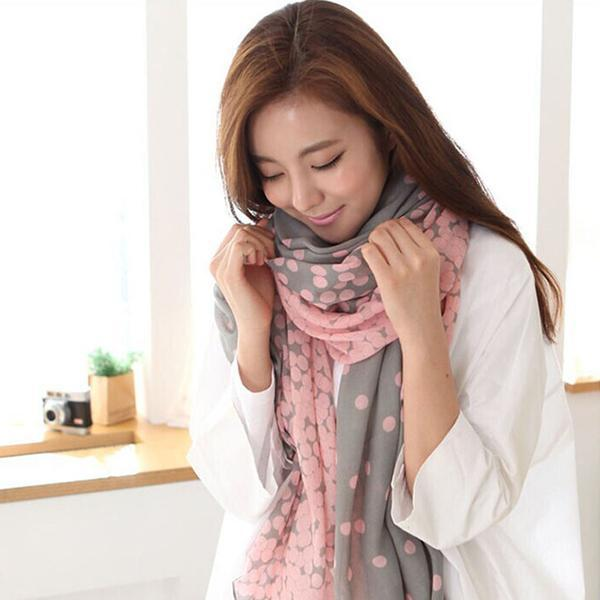 2018 New Fashion Women Soft Long Voile Neck Butterfly Dots Scarf