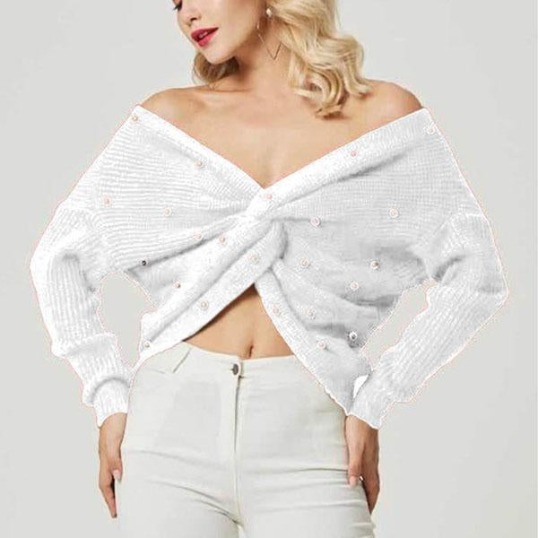2019 Pearl Beading V Neck Twist Sweater