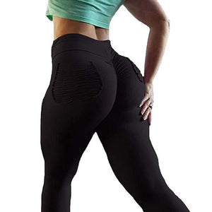 Women's High Waisted Bottom Scrunch Leggings Ruched Yoga Pants Push up Butt Lift Trousers Workout