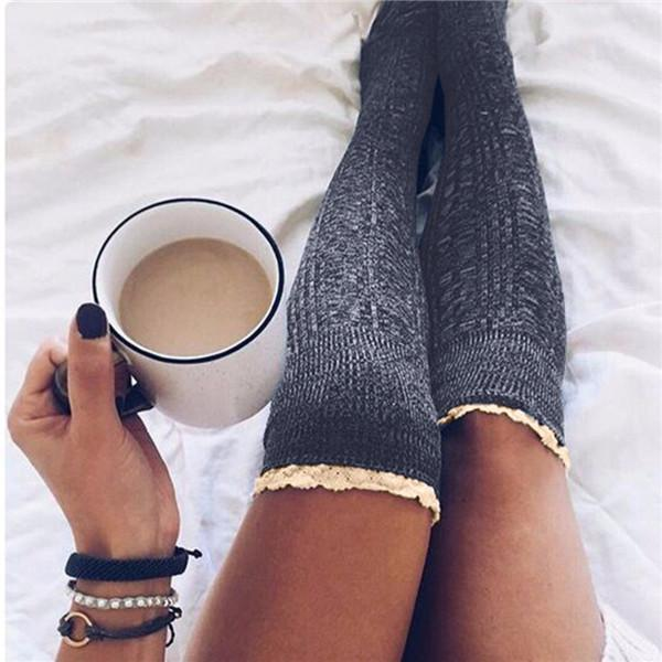 2019 New Fashion Special Design Women Solid Knitted Thigh-High Lace Stocking