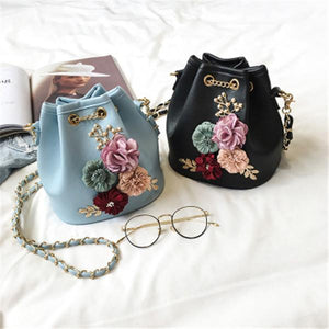 2019 New Fashion Sweet Lady Flower Handbags Bucket Bag