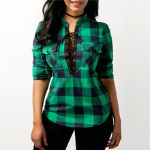 Load image into Gallery viewer, Women Long Sleeve Plaid Flannel Print Lace Up Shirt Top