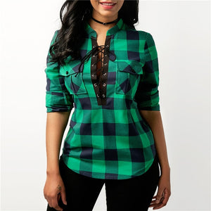 Women Long Sleeve Plaid Flannel Print Lace Up Shirt Top