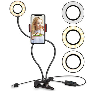 Universal 2-in-1 Clip On Phone Holder With Selfie Ring Light