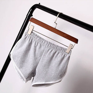 Women White Trim Fitness Sports and Gym Workout Elastic Waistband Shorts