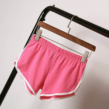 Load image into Gallery viewer, Women White Trim Fitness Sports and Gym Workout Elastic Waistband Shorts