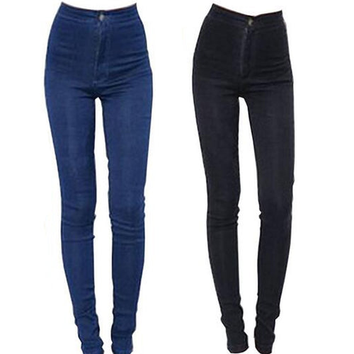 Women Stretchable High Waist Pencil Pants Skinny Jeans Trouser Bottoms