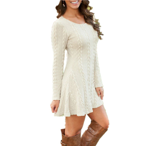 Women Loose Knitted Long Sleeve Short Sweater Dress