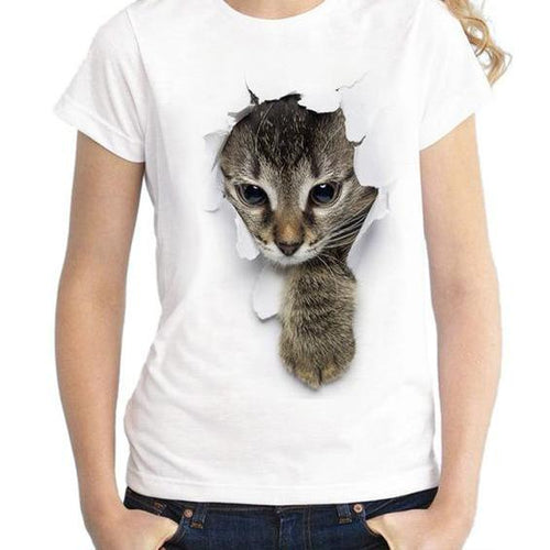Women Cat In The Hole T Shirt Print Top
