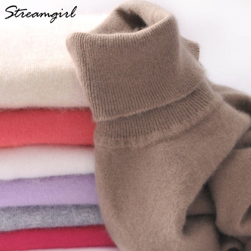 Washable Women Knitted Cashmere Turtleneck Sweater