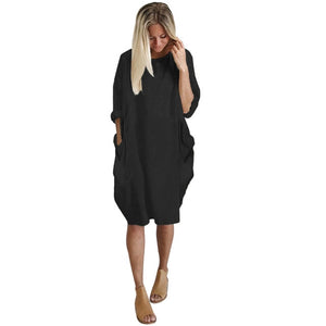 Womens Bohemian Boho Chic Style Loose Crew Neck Dress with Pockets