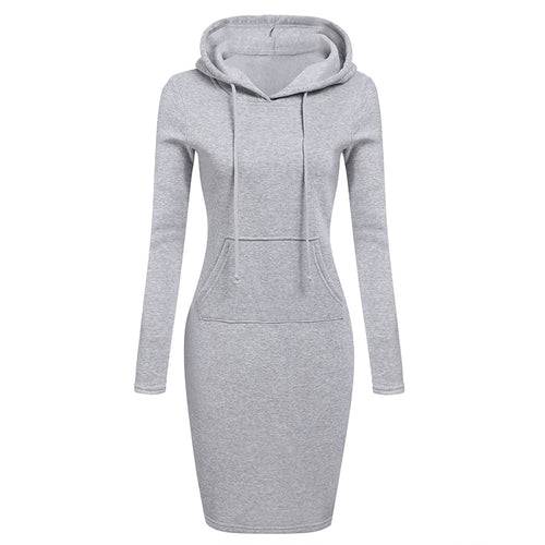 Women Long Sleeve Hoodie Sheath Sweatshirt Dress with Solid Pouch Pocket