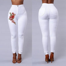 Load image into Gallery viewer, Red Rose Woman High Waist Push Up Skinny Jean Pants