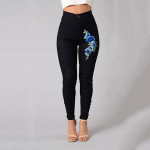 Red Rose Woman High Waist Push Up Skinny Jean Pants
