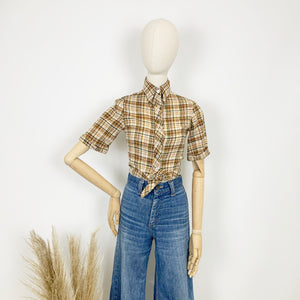 The Mary 1970s Cheesecloth Checked Crop Shirt