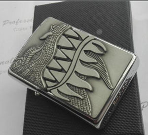 Zippo Lighter - Flaming Dragon Brushed Chrome