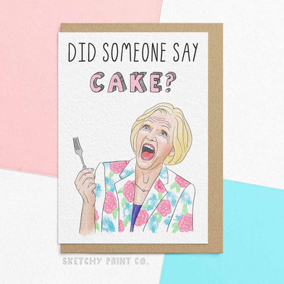 Funny Birthday Cards Mary Berry Bakeoff Mum girlfriend unique gift unusual hilarious illustrated sketchy print co