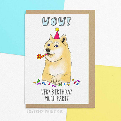 Funny Birthday Cards Doge boyfriend girlfriend unique gift unusual hilarious illustrated sketchy print co