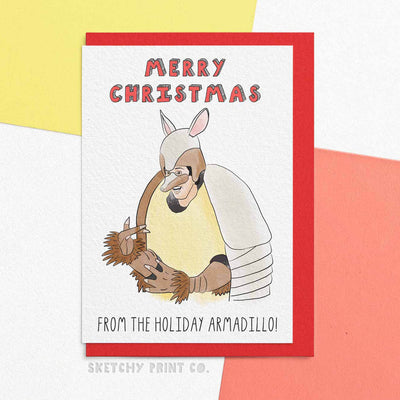 Funny Christmas Cards Holliday Armadillo boyfriend girlfriend unique gift unusual Friends hilarious illustrated sketchy print co