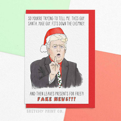 Funny Christmas Cards Trump Fake News Banter boyfriend girlfriend unique gift unusual hilarious illustrated sketchy print co