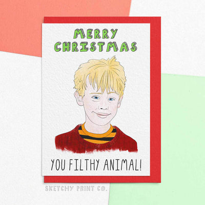 Home Alone Filthy animal Funny Rude Silly Christmas Cards boyfriend girlfriend unique gift unusual hilarious illustrated sketchy print co