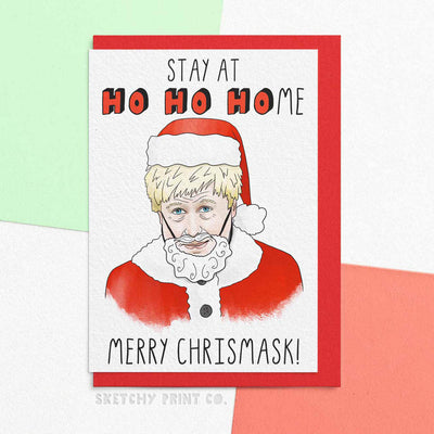 Funny Christmas Cards Boris covid lockdown boyfriend girlfriend unique gift unusual hilarious illustrated sketchy print co