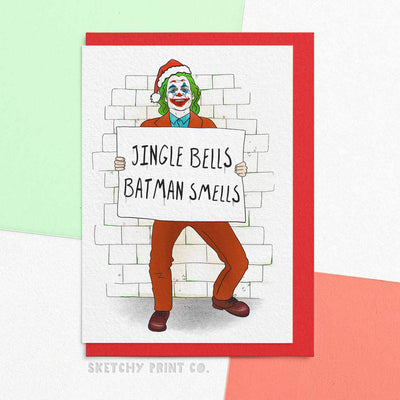 Funny Christmas Cards Joker jingle bells boyfriend girlfriend unique gift unusual hilarious illustrated sketchy print co