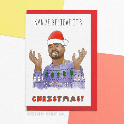 Kanye Funny Christmas Cards boyfriend girlfriend unique gift unusual hilarious illustrated sketchy print co