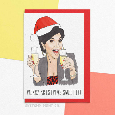 kardashian Funny Rude Silly Christmas Cards boyfriend girlfriend unique gift unusual hilarious illustrated sketchy print co