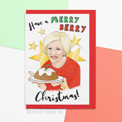 Mary Berry Funny Rude Silly Christmas Cards bake off boyfriend girlfriend unique gift unusual hilarious illustrated sketchy print co