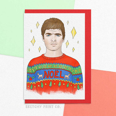 Noel Gallagher Funny Rude Silly Christmas Cards boyfriend girlfriend unique gift unusual hilarious illustrated sketchy print co