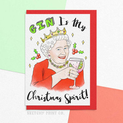 Funny Christmas Cards The Queen Gin Mum girlfriend unique gift unusual hilarious illustrated sketchy print co