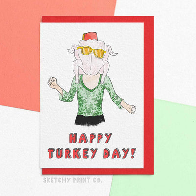 Turkey Day Thanksgiving Funny Rude Silly Christmas Cards boyfriend girlfriend unique gift unusual hilarious illustrated sketchy print co