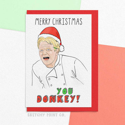 Gordon Ramsey Funny Rude Silly Christmas Cards boyfriend girlfriend unique gift unusual hilarious illustrated sketchy print co