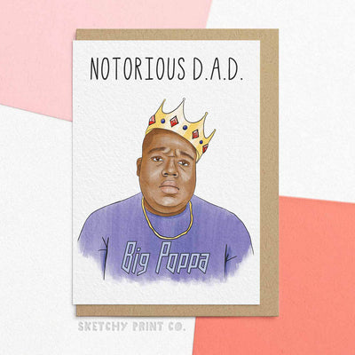 biggie poppa Funny Rude Silly Father's Day Cards Dad unique gift unusual hilarious illustrated sketchy print co