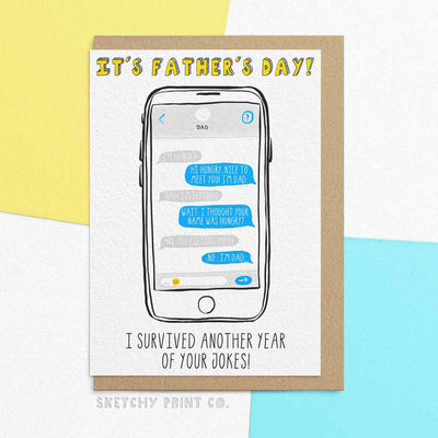 Funny Father's Day Cards Dad Joke unique gift unusual hilarious illustrated sketchy print co