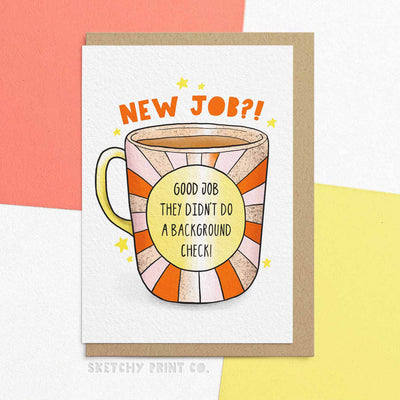 Background Check Funny Rude Silly New Job Cards Leaving Work Wife unique gift unusual hilarious illustrated sketchy print co