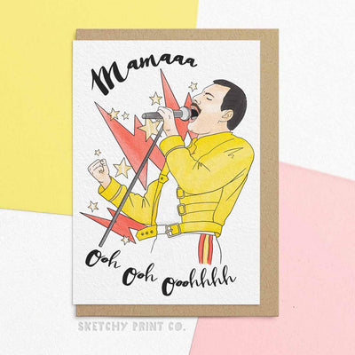 Freddie Mercury Mama Funny Rude Silly Mother's Day Cards Mom Mum unique gift unusual hilarious illustrated sketchy print co