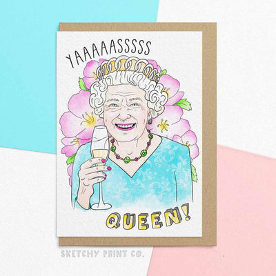 Birthday Queen Funny Rude Silly Mother's Day Cards Mom Mum unique gift unusual hilarious illustrated sketchy print co