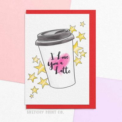 Funny Valentine's Day Cards coffee lover boyfriend girlfriend unique gift unusual hilarious illustrated sketchy print co