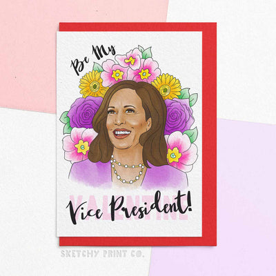 Funny Valentine's Day Cards boyfriend girlfriend Kamala Harris unique gift unusual hilarious illustrated sketchy print co