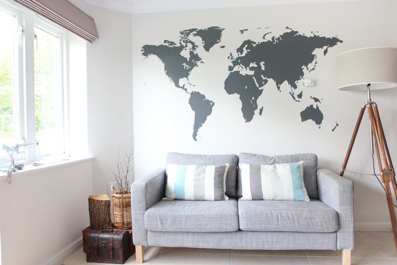 Feature product world map wall stickers vinyl impression a world map wall decal makes for a great diy decoration project for an afternoon but it also creates a canvas of opportunity on your wall gumiabroncs Choice Image